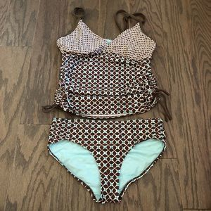 Athleta Print Ruched Tankini Swimsuit Set